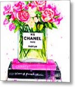 Chanel Nr 5 Flowers With  Perfume Metal Print