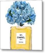 Chanel Perfume Nr 5 With Blue Hydragenias  Metal Print