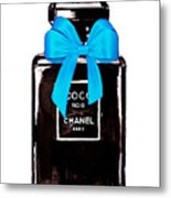 Chanel Perfume With Blue Ribble Metal Print