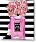 Chanel Poster Pink Perfume Hydrangea Print Metal Print