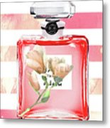 Chanel Red Flower Metal Print