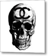 Chanel Skull Black Metal Print