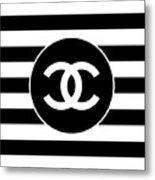 Chanel - Stripe Pattern - Black And White 2 - Fashion And Lifestyle Metal Print