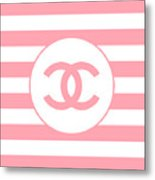 Chanel - Stripe Pattern - Pink - Fashion And Lifestyle Metal Print