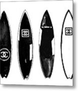 Chanel Surfboard  Black And White Metal Print