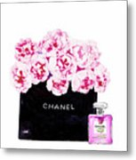 Chanel With Flowers Metal Print