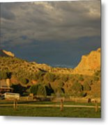 Changing Weather Over Farmland In Southwestern Usa Metal Print
