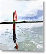 Channel Marker, Banana River, Merritt Island, Fl Metal Print
