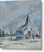 Chapel In Winter Metal Print