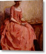 Chaplin Charles Girl In A Pink Dress Reading With A Dog Metal Print