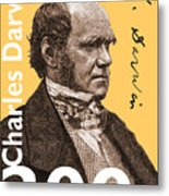 Charles Darwin 200 Yellow Metal Print