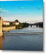 Charle's Or Carl's Bridge View In Prague Metal Print