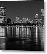 Charles River Boston Ma Prudential Lit Up Not Done New England Patriots Black And White Metal Print