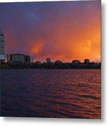 Charles River Vibrant Sunset Boston Ma Metal Print