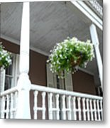 Charleston Historical District Front Porch Flowers - Charleston Homes Architecture Metal Print