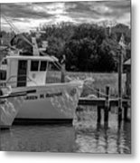 Charleston Star In Monochrome Metal Print