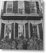 Charleston Style Home Black And White Metal Print