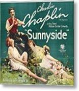 Charlie Chaplin In Sunnyside 1919 Metal Print