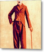 Charlie Chaplin The Tramp 20130216p68 Metal Print by Wingsdomain Art and Photography