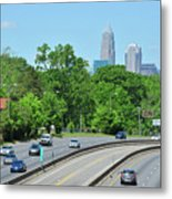 Charlotte Skyline From A Distance Metal Print