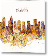 Charlotte Watercolor Skyline Metal Print