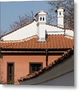 Charming Chimneys - White Stucco And Terracotta Juxtaposition Metal Print