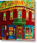 Charming Store  On The Corner Metal Print