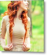 Charming Young Woman In The Forest Metal Print