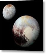 Charon And Pluto Enhanced Metal Print