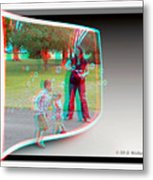 Chasing Bubbles - Use Red-cyan 3d Glasses Metal Print