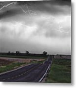 Chasing The Storm - Bw And Color Metal Print