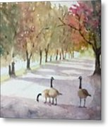 Chat In The Park Metal Print
