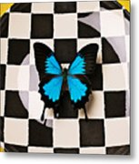 Checker Plate And Blue Butterfly Metal Print by Garry Gay