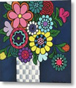 Checkered Bouquet Metal Print