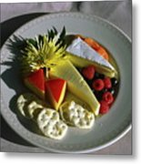 Cheese Wedges With Crackers And Fruit Metal Print