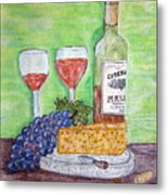 Cheese Wine And Grapes Metal Print