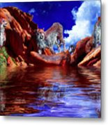 Cheetah Lake Metal Print
