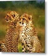 Cheetah Siblings Metal Print