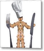 Chef Box Man Character With Cutlery Metal Print
