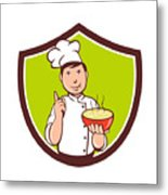Chef Cook Bowl Pointing Crest Cartoon Metal Print