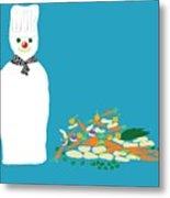 Chef Snowman Metal Print