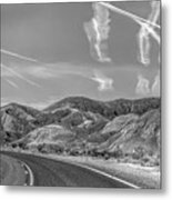 Chem Trails Over Valley Of Fire Black White  Metal Print