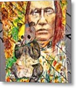 Cherokee Chief With Friend Mr.p Metal Print