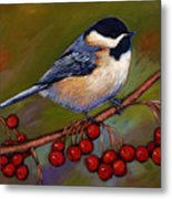 Cherries And Chickadee Metal Print
