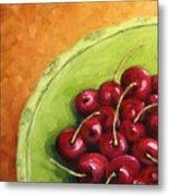 Cherries Green Plate Metal Print