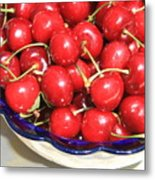 Cherries In A Bowl Close-up Metal Print