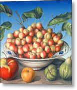 Cherries In Delft Bowl With Red And Yellow Apple Metal Print