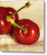 Cherries On White Metal Print