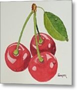 Cherry Times Three Metal Print