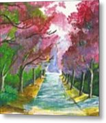 Cherry Blossom Lane Metal Print